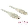 DELOCK USB 2.0-s kábel A-típusú csatlakozódugóval > USB 2.0-s, B-típusú csatlakozódugóval, 1,5 m
