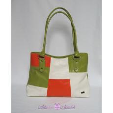 Divattáska női rostbőr krém-zöld-narancs