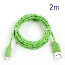 Adatkábel, Micro USB, 2 méter, cipőfűző design, zöld