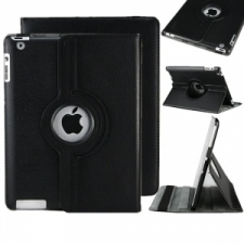 Bőrtok, Apple iPad Mini mappa tok, elforgatható (360°) fekete tablet tok