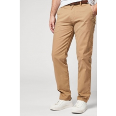 Next , Straight fit chino nadrág övvel, homokbarna, 36L (161615-BROWN-36L)