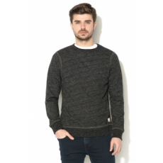 Jack Jones Jack&Jones, Rugged slim fit pulóver, Koptatott fekete, XL (12127405-CAVIAR-XL)