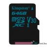 Kingston 64GB SD micro Canvas Go (SDXC Class 10  UHS-I U3) (SDCG2/64GBSP) memória kártya