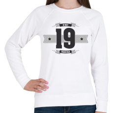 PRINTFASHION b-day-19-dark-lightgrey - Női pulóver - Fehér