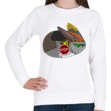 PRINTFASHION Flying Robot Rabbit - Női pulóver - Fehér