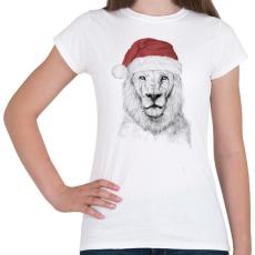 PRINTFASHION Santa lion - Női póló - Fehér