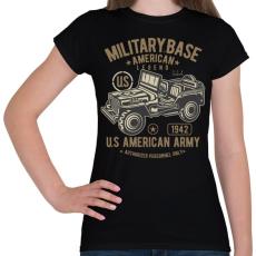 PRINTFASHION Amerikai katonai jeep - Női póló - Fekete
