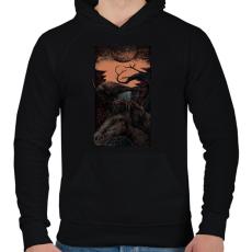 PRINTFASHION Sötét egyszarvú - Férfi kapucnis pulóver - Fekete