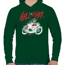 PRINTFASHION Hell Rider - fehér - Férfi kapucnis pulóver - Sötétzöld