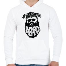 PRINTFASHION Szakáll biznisz - Férfi kapucnis pulóver - Fehér
