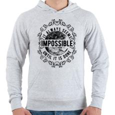PRINTFASHION Lehetetlen - fekete szöveg - Férfi kapucnis pulóver - Sport szürke