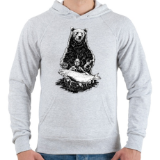 PRINTFASHION Horgász a pácban - Férfi kapucnis pulóver - Sport szürke