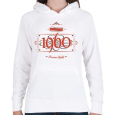 PRINTFASHION since-1960-red-black - Női kapucnis pulóver - Fehér