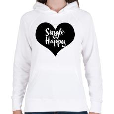 PRINTFASHION Boldog szingli - Női kapucnis pulóver - Fehér