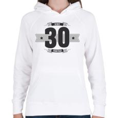 PRINTFASHION b-day-30-dark-lightgrey - Női kapucnis pulóver - Fehér