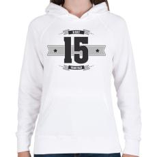 PRINTFASHION b-day-15-dark-lightgrey - Női kapucnis pulóver - Fehér