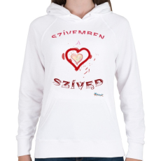 PRINTFASHION Szivben sziv - Női kapucnis pulóver - Fehér