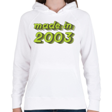 PRINTFASHION made-in-2003-green-grey - Női kapucnis pulóver - Fehér