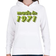 PRINTFASHION made-in-1971-green-grey - Női kapucnis pulóver - Fehér