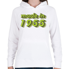 PRINTFASHION made-in-1955-green-grey - Női kapucnis pulóver - Fehér