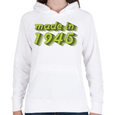 PRINTFASHION made-in-1945-green-grey - Női kapucnis pulóver - Fehér