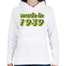 PRINTFASHION made-in-1939-green-grey - Női kapucnis pulóver - Fehér