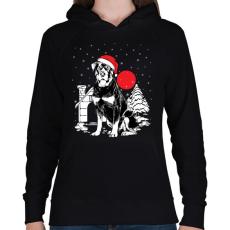 PRINTFASHION Rottweiler Karácsony - Női kapucnis pulóver - Fekete