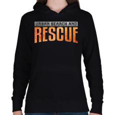 PRINTFASHION US&Rescue - Női kapucnis pulóver - Fekete