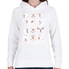 PRINTFASHION Bárányok élete - Női kapucnis pulóver - Fehér
