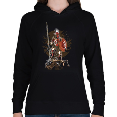 PRINTFASHION Sparta - Női kapucnis pulóver - Fekete