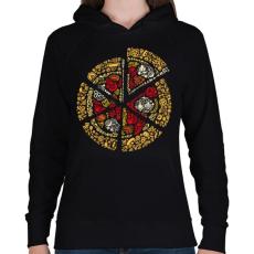 PRINTFASHION Pizza - Női kapucnis pulóver - Fekete