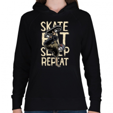 PRINTFASHION Skate Eat Sleep Repeat - Női kapucnis pulóver - Fekete