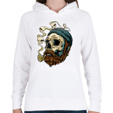 PRINTFASHION Tengerész koponya - Női kapucnis pulóver - Fehér