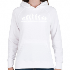 PRINTFASHION Evolúció - Női kapucnis pulóver - Fehér
