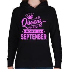 PRINTFASHION A királynők szeptemberben születnek - Női kapucnis pulóver - Fekete