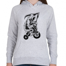 PRINTFASHION A kaszás biciklije - Női kapucnis pulóver - Sport szürke