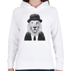 PRINTFASHION Sir lion - Női kapucnis pulóver - Fehér