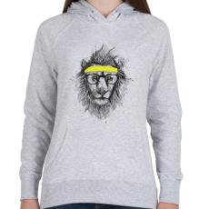 PRINTFASHION Hipster lion - Női kapucnis pulóver - Sport szürke