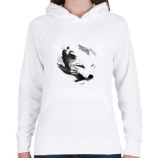 PRINTFASHION White fox - Női kapucnis pulóver - Fehér