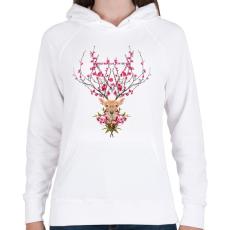 PRINTFASHION Spring deer - Női kapucnis pulóver - Fehér