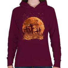 PRINTFASHION Sírok a holdfényben - Női kapucnis pulóver - Bordó