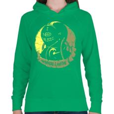 PRINTFASHION Kell a zene - Női kapucnis pulóver - Zöld