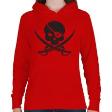 PRINTFASHION Kalóz koponya - Női kapucnis pulóver - Piros