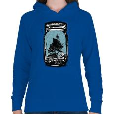 PRINTFASHION Csapdában - Női kapucnis pulóver - Királykék