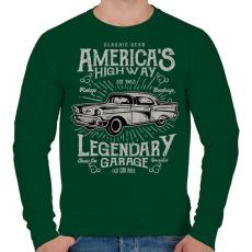 PRINTFASHION Klasszikus Amerikai autó - Férfi pulóver - Sötétzöld