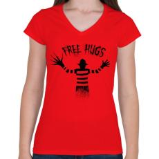 PRINTFASHION Ingyen ölelés - Női V-nyakú póló - Piros