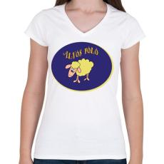 PRINTFASHION Alvós póló - Női V-nyakú póló - Fehér