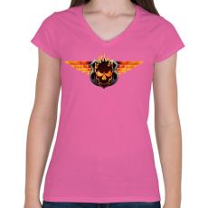PRINTFASHION Flaming skull - Női V-nyakú póló - Rózsaszín
