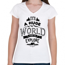 PRINTFASHION Adventure - Női V-nyakú póló - Fehér