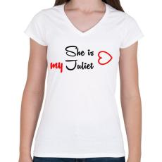 PRINTFASHION Júlia - Női V-nyakú póló - Fehér